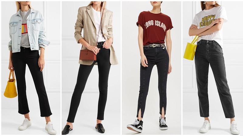Девушки в образе с черными джинсами для лета