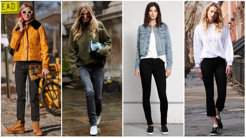 Девушки в простых образах с черными джинсами в стиле кэжуал