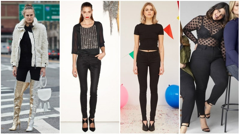 Девушки в вечерних нарядах с черными джинсами