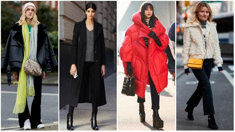 Девушки в зимних нарядах с черными джинсами