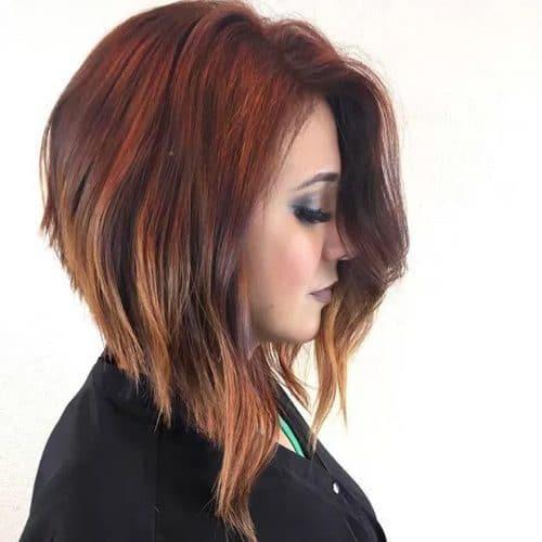 Длинный геометрический боб для густых волос