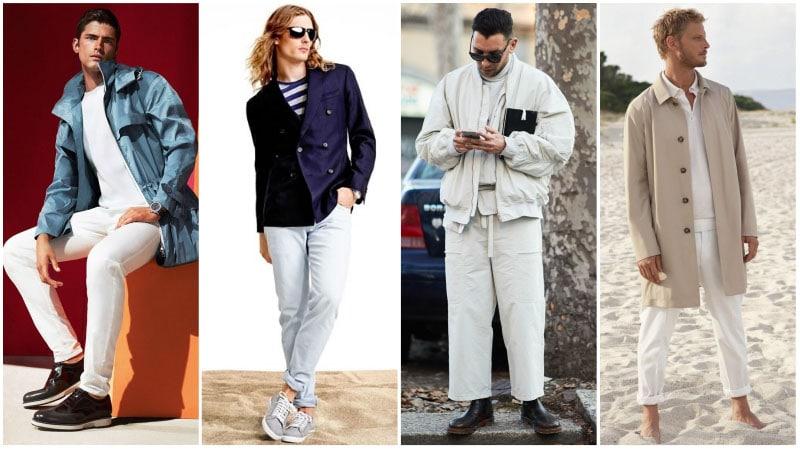 Мужчины в комплектах одежды с белым цветом