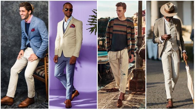 Мужчины в комплектах одежды с бежевым цветом
