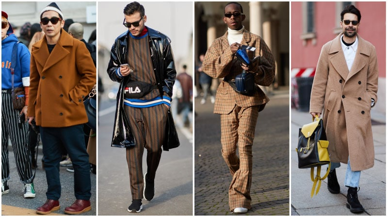 Мужчины в комплектах одежды с коричневым цветом