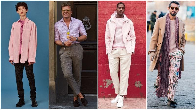 Мужчины в комплектах одежды с розовым цветом
