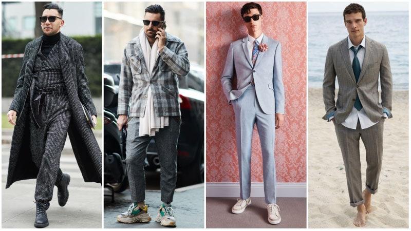 Мужчины в комплектах одежды с серым цветом