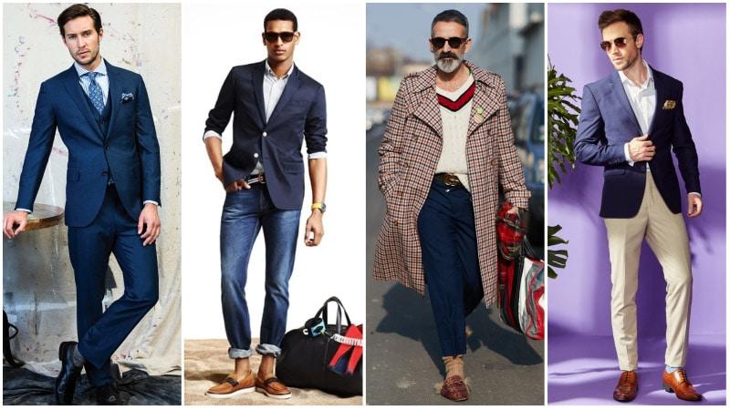 Мужчины в комплектах одежды с синим цветом