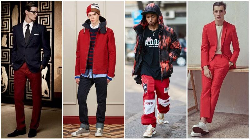 Мужчины в комплектах одежды с красным цветом