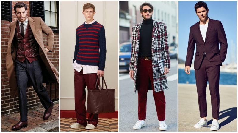 Мужчины в костюмах с бордовым цветом