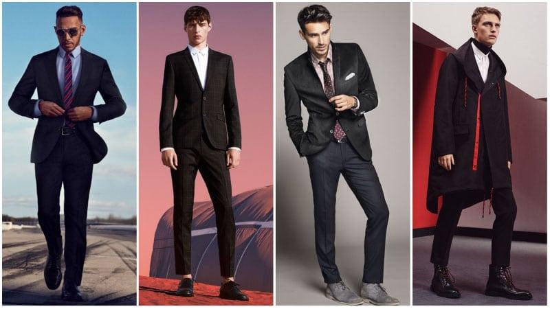 Мужчины в темных деловых костюмах, цветовые сочетания в одежде
