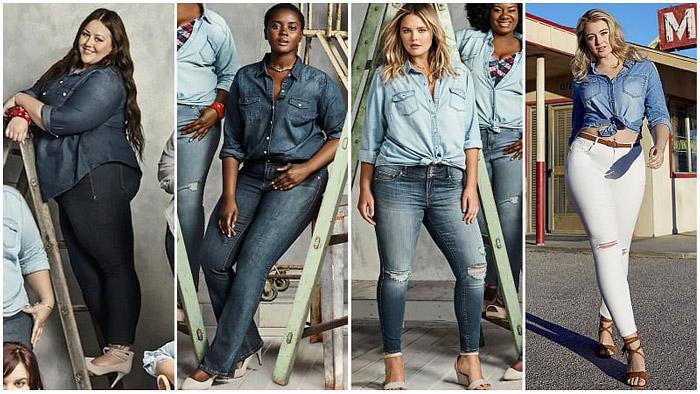 Полные девушки в джинсовых рубашках и брюках