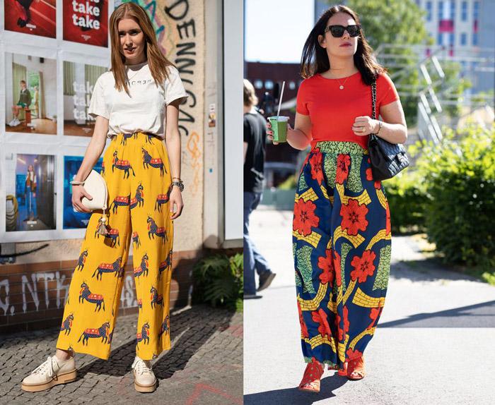 Девушки в элегантных широких брюках с фольклорным принтом