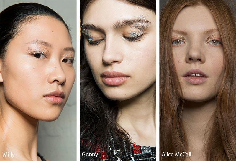 Модели с блестками на глазах, тенденции макияжа