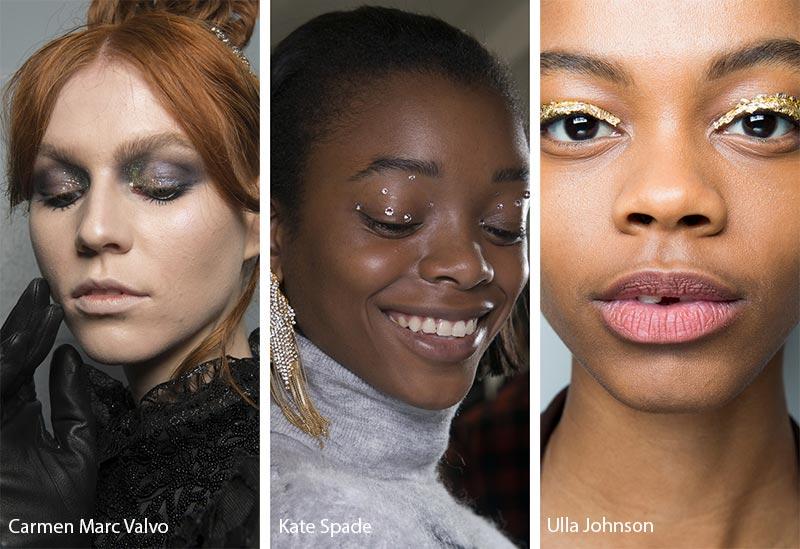 Модели с блестками на веках, тенденции макияжа