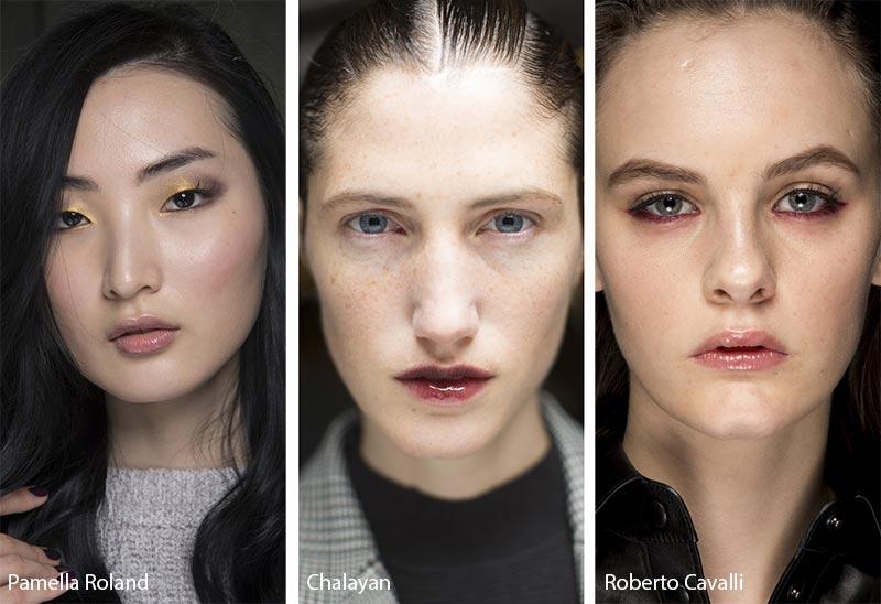 Модели с блестящими губами, модный макияж