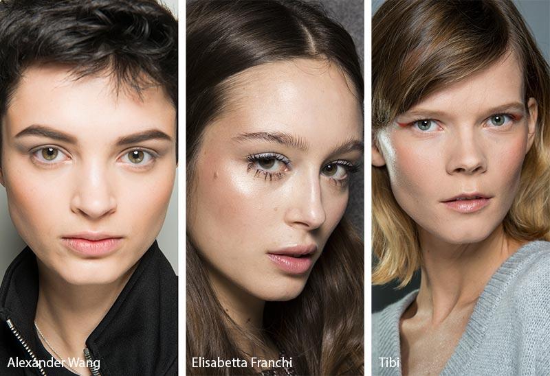 Модели с естественным контуром на глазах, модный макияж