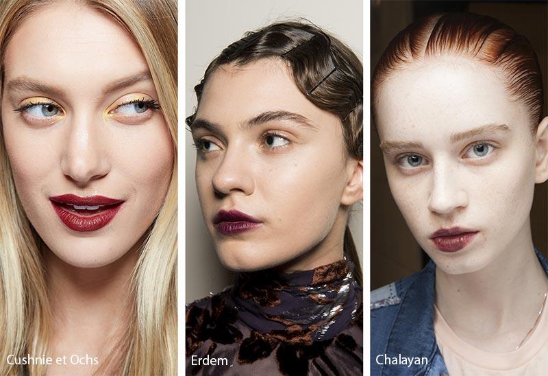 Модели с макияжем губ винных оттенков