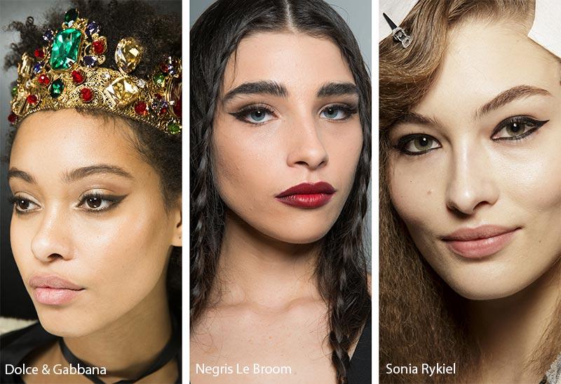 Модели с макияжем с черной подводкой, модный макияж