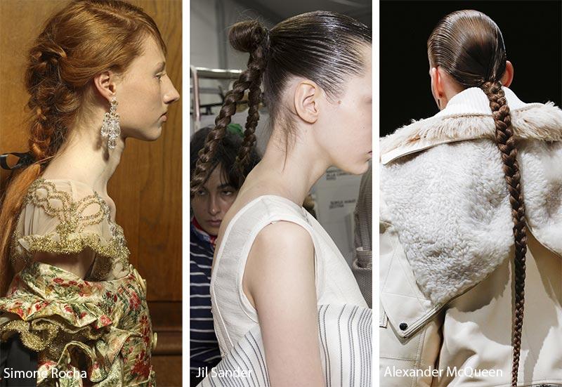 Модели с различными косичками на волосах