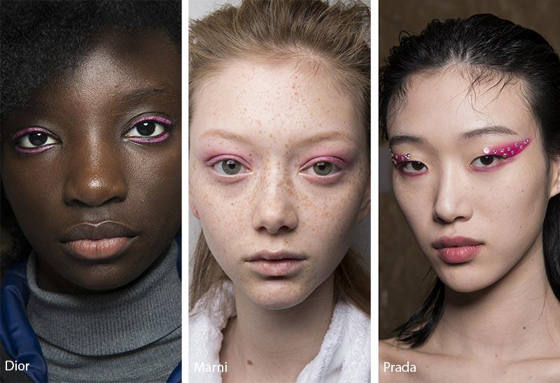 Модели с розовыми тенями для глаз, модный макияж