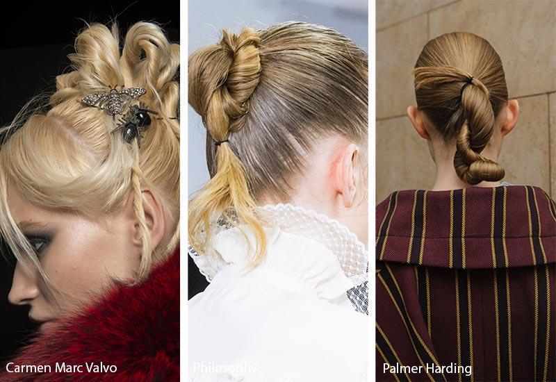 Модели с шиньонами на волосах, модные прически осень зима