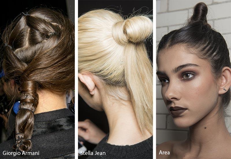 Модели с шиньонами на волосах различной формы