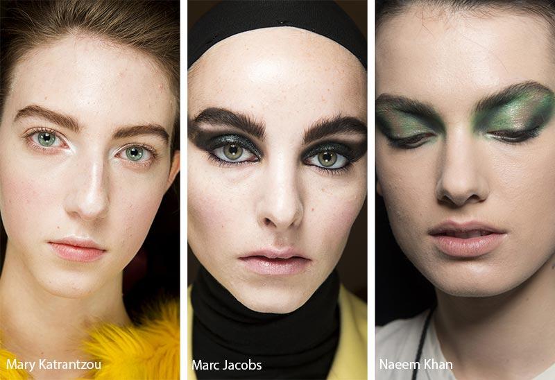 Модели с широкими взъерошенными бровями, модный макияж
