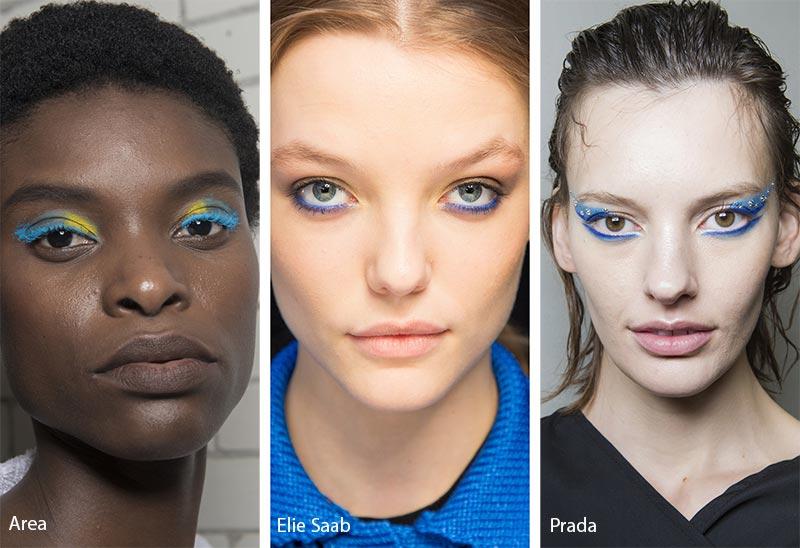 Модели с синими тенями и с синей подводкой для глаз