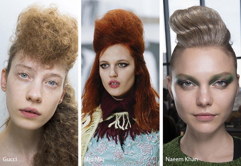 Модели с высоким начесом на голове, модные прически