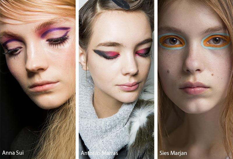 Модели с ярким двухцветным макияжем, тенденции макияжа