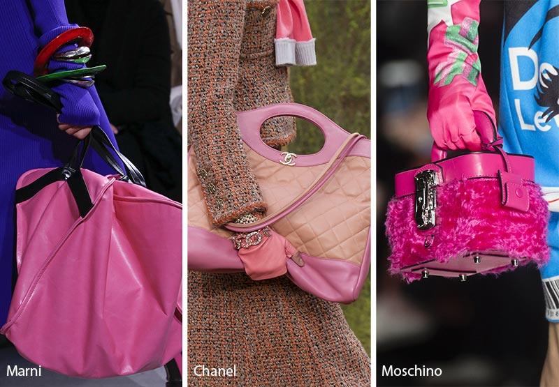 Модные сумки розовых оттенков, осень зима 2018