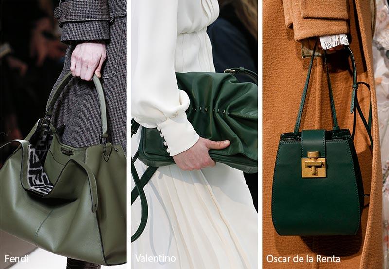Модные сумки в оттенках зеленого, осень зима