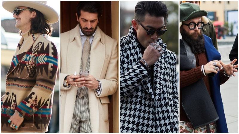 Мужчины с кольцами, модные мужские аксессуары
