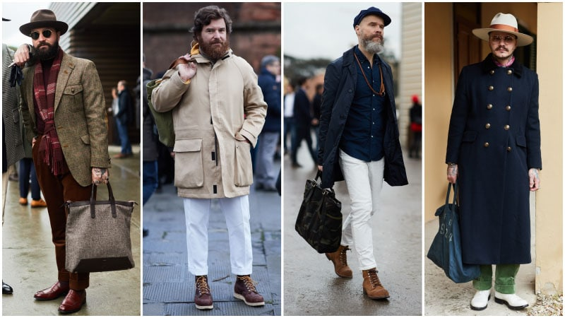 Мужчины с сумками тоут, мужская мода