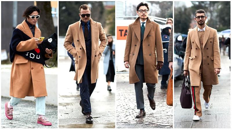 Мужчины в бежевых пальто кемел, мужская мода