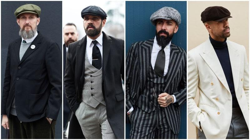 Мужчины в деловых костюмах и кепках, мужская мода