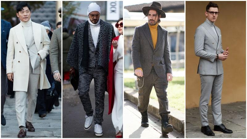Мужчины в деловых костюмах и водолазках, мужская мода