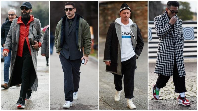 Мужчины в костюмах со спортивными нотками, мужская мода