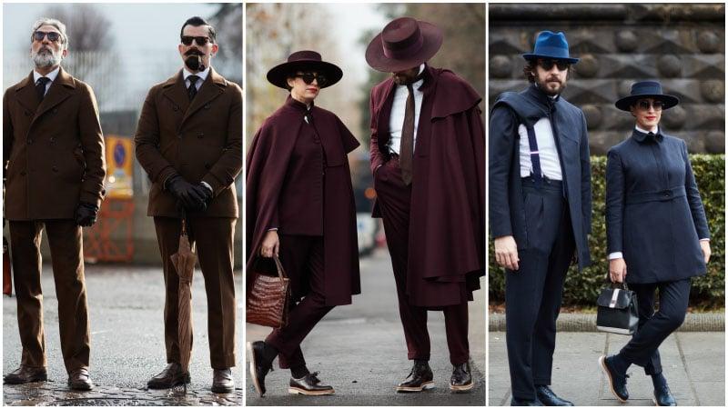 Мужчины в одинаковых костюмах мужская мода осень зима