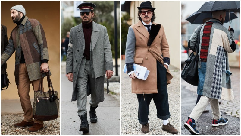Мужчины в пальто в стиле печворк, мужская мода