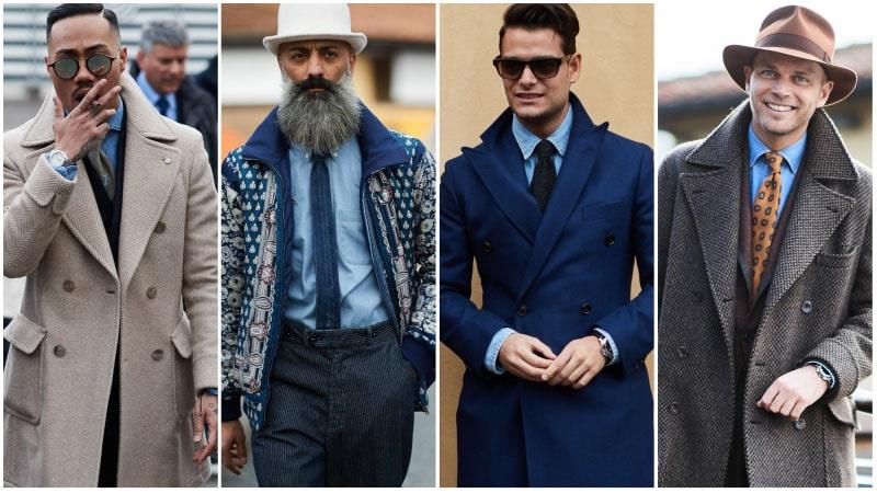 Мужская мода, мужчины в голубых джинсовых рубашках