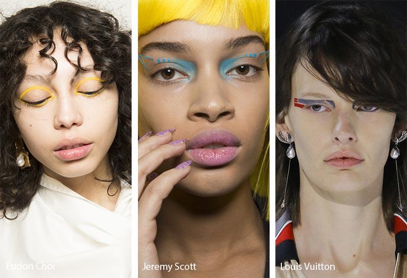 Необычная яркая подводка глаз, модные тенденции макияжа