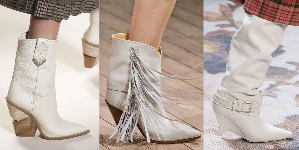 Тенденция обуви осень зима белые техасские сапоги