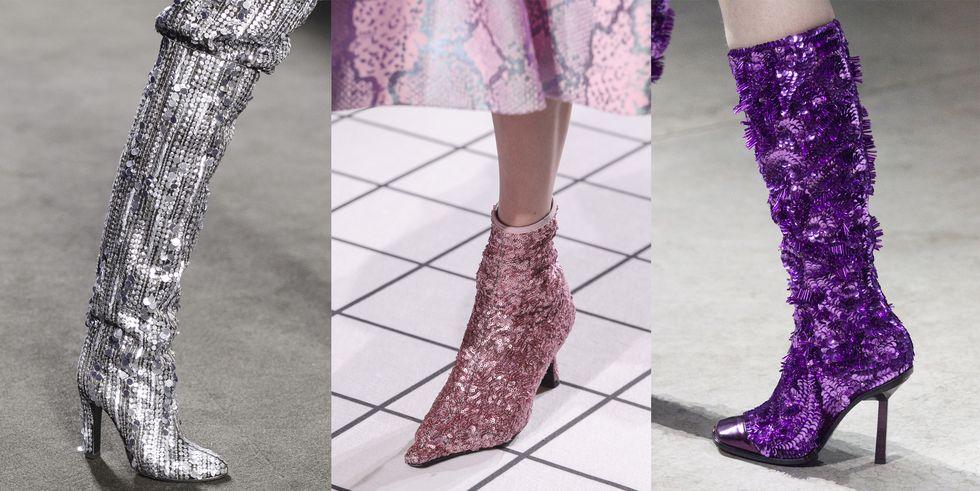 Тенденция обуви осень зима сапоги и ботильоны с блестками