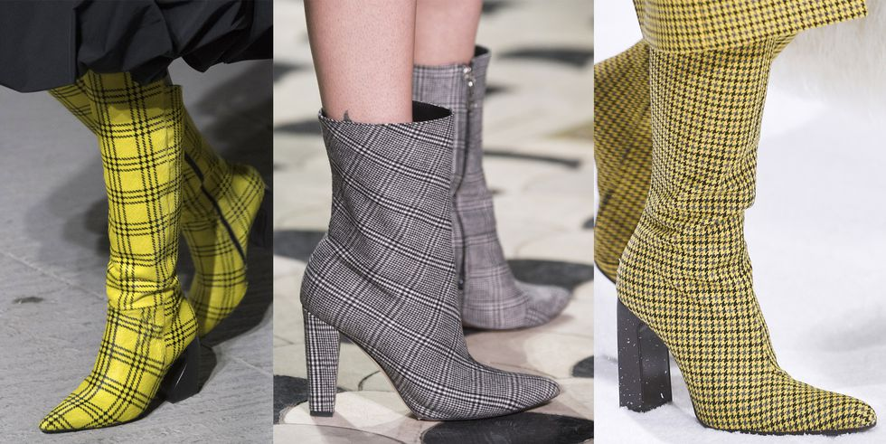 Тенденция обуви осень зима сапоги в клетку