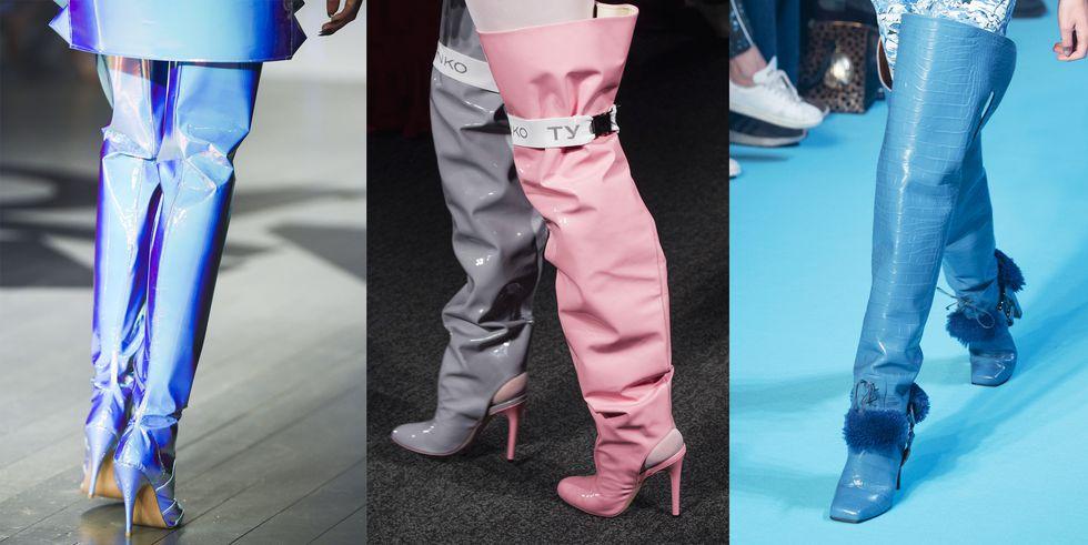 Тенденция обуви осень зима широкие сапоги выше колена