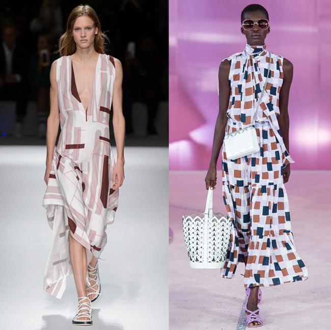 Модели с модных показов в длинных белых платьях с геометрическим принтом