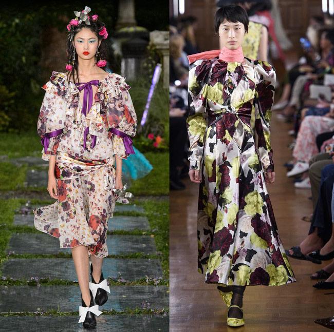 Модели с модных показов в платьях с цветочным принтом