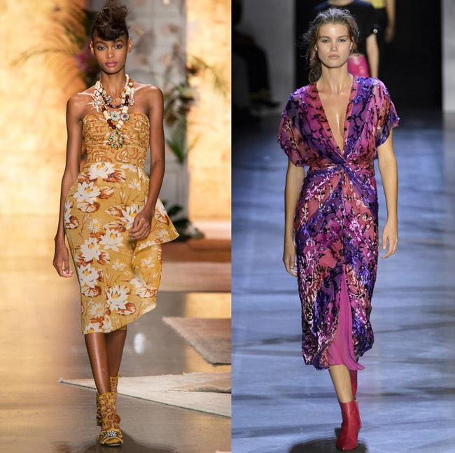 Модели с модных показов весна-лето в платьях миди с экзотическим принтом