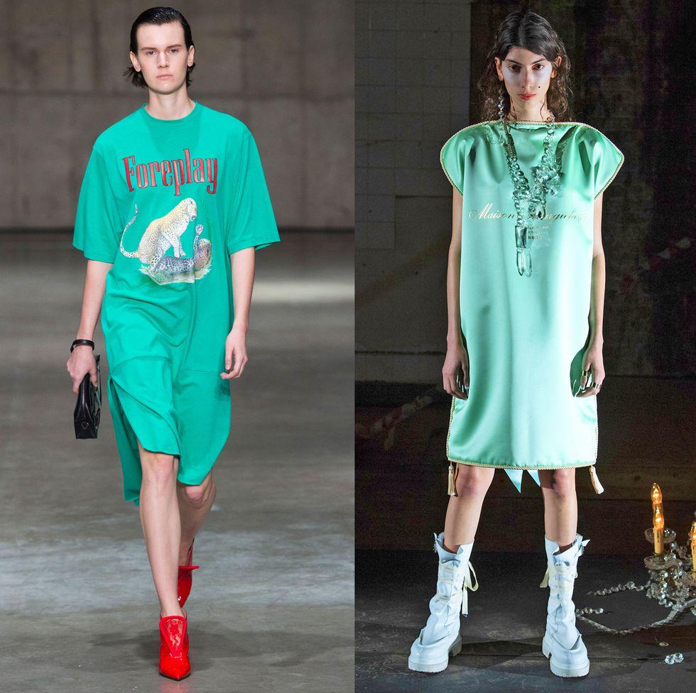 Модели в модных платьях-футболка оверсайз бирюзового цвета